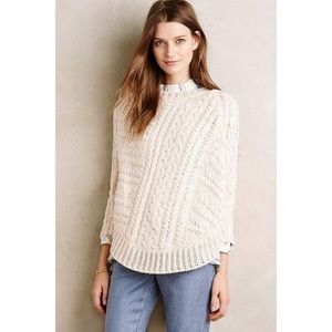 ANTHROPOLOGIE Cream Curved Cables Poncho Sweater